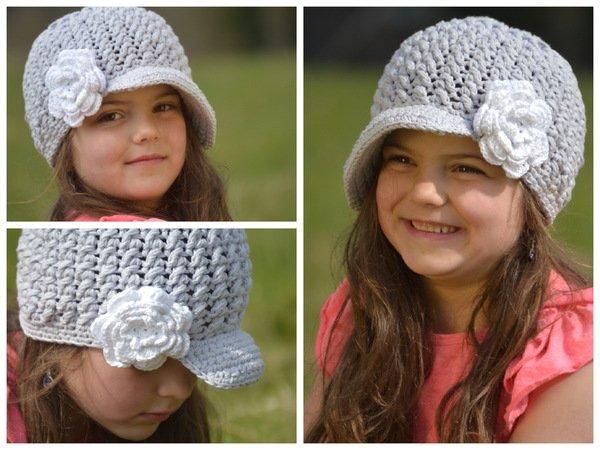 TIA - Newsgirl-Hat mit Blume häkeln, für alle Größen, Ballonmütze ...
