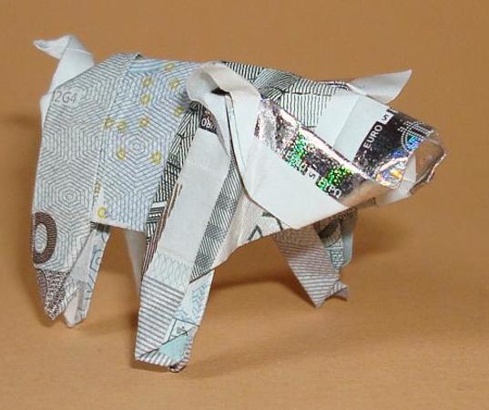 Origami Geldschein Schwein