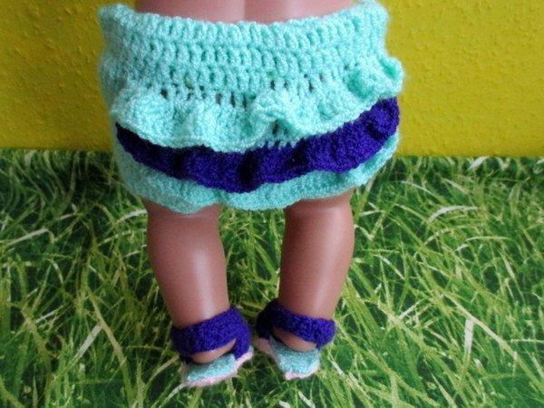 Häkelanleitung Sommerkleid mit Höschen für Babypuppen 43 cm