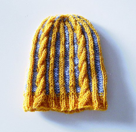 "Baby - toddler colorwork hat knitting pattern with cables ""Little Baby Rapunzel"""