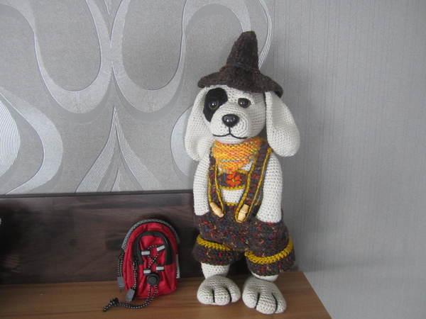 Hund häkeln // mit Lederhose / ca. 35 cm groß