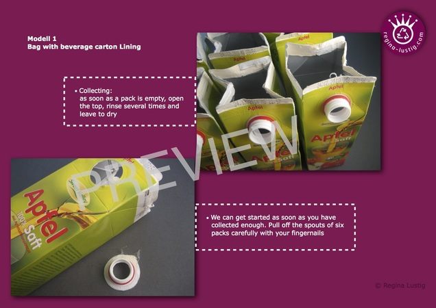 Beverage Carton Handbags with Latch, Upcycling
