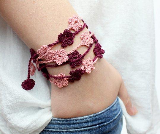 Armband Häkeln Wickelarmband Mit Blumen Schöner Sommerschmuck