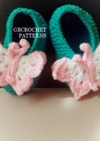 3b28ec2344cd1 Baby Butterfly crochet shoes, easy shoes Newborn up to 2 years old
