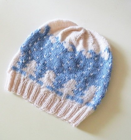 "Set of 2 beanies in stranded colorwork ""Winter Landscapes"""