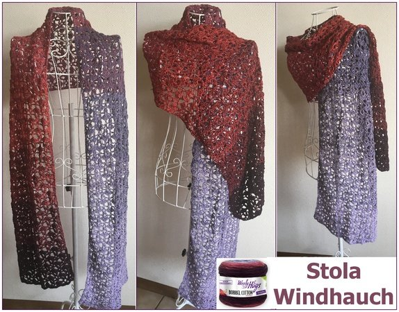 Stola WINDHAUCH mit 1 Woolly Hugs BOBBEL-COTTON häkeln