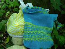 "Knitted market bag in mosaic colorwork ""Melons and Pineapples and more"""