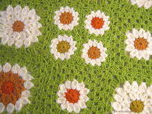 3 Granny Squares, Frühlingswiese
