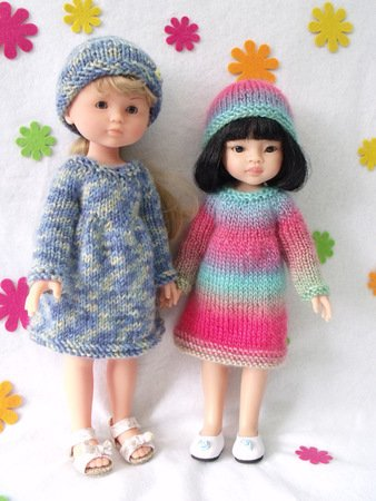Knitting pattern for Dress and Hat for Paola Reina doll (12