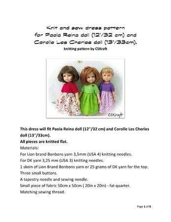 Knit and sew dress pattern for Paola Reina doll and Corolle Les Cheries doll.