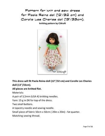 "Knitting pattern for clothes for Corolle Les Cheries doll 13"" and Paola Reina doll 12""."