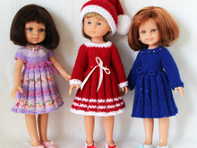 Knitting pattern for Holiday Dresses and Hat for Paola Reina doll and Corolle Les Cheries doll.