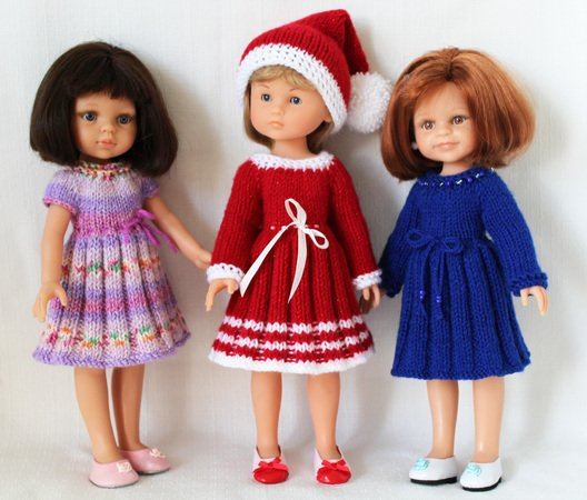 knitting pattern for holiday dresses and hat for paola reina doll