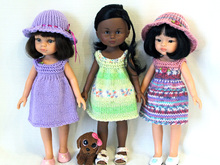 Knitting pattern for Sundresses and Hat for Paola Reina doll and Corolle Les Cheries doll.
