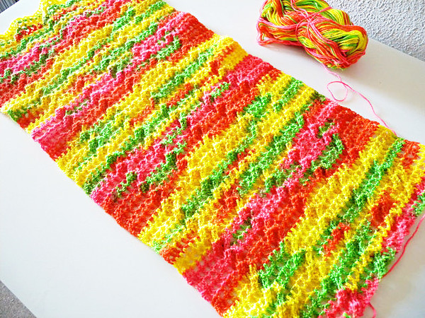 "Cabled Scarf crochet pattern ""Fluorescence"", cables and mesh"