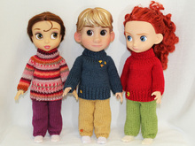 Knitting pattern for sweater and sweatpants for Disney Animators' 16 inch dolls.