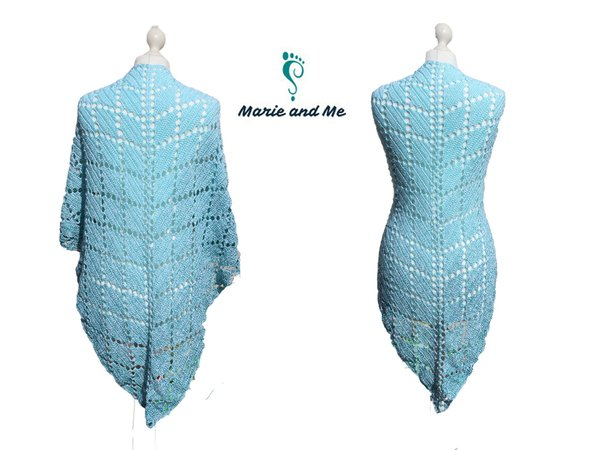 Aquamarim - triangle shawl suitable for beginners (crocheting)