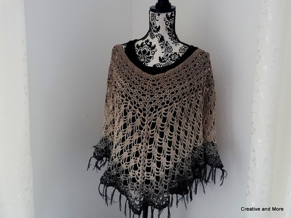 "Crochet pattern ""Poncho Elegancé"" - All sizes"