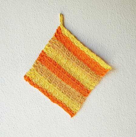 "Knitting pattern for a reversible potholder or dishcloth ""Papaya"""