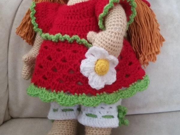 Häkelanleitung Puppenkleidung, Ennie Erdbeere