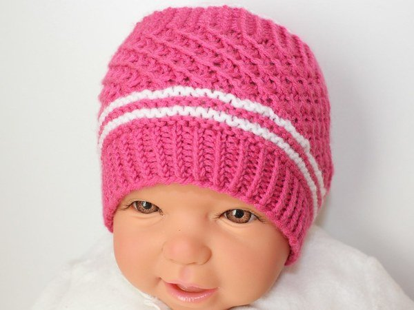 Strickanleitung Babymütze, Baby-Mütze, Sternchenmuster, ca. 2 - 6 Monate