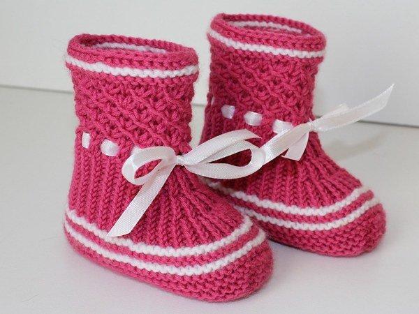 Strickanleitung Baby-Booties, Stiefelchen, Babyschuhe ...