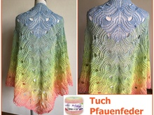 "Tuch ""Pfauenfeder"" mit 1 Woolly Hugs BOBBEL-COTTON stricken"