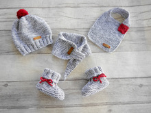 Knitting Pattern – Baby Set basic – Bootees, Cap, Scarf & Bib – No.168E-Set