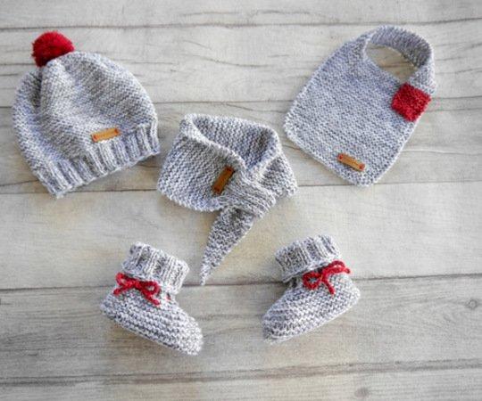 Strickanleitung - Babymütze, Babyschuhe, Babyschal, Babylätzchen ...