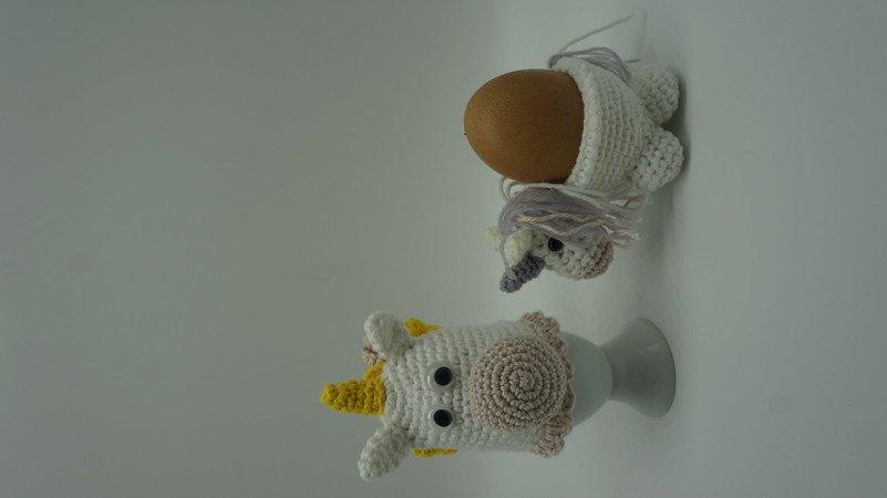 Einhorn Eierbecher Eierwärmer Set Häkelanleitung