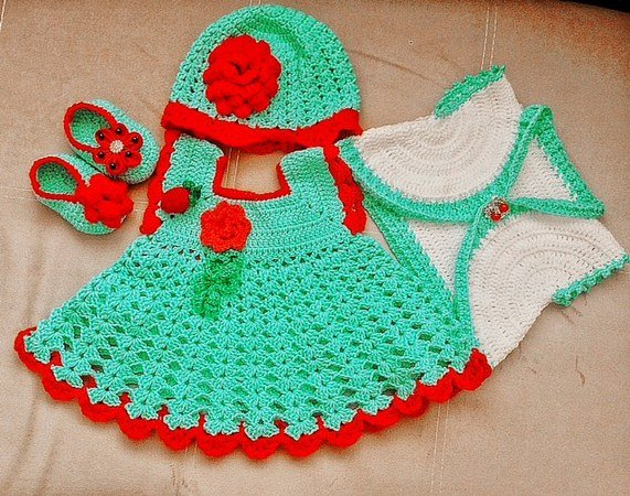 Baby dress crochet pattern set,pinafore baby dress, take home baby dress, hat and shoes, Nb to 24MO