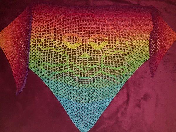 Dreieckstuch Häkeln Totenkopf Motiv
