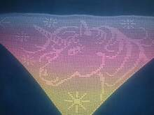 Motive scarf Unicorn, unicorn triangular scarf, crochet pattern