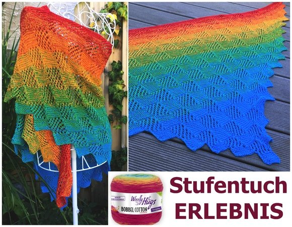 "Stufentuch ""ERLEBNIS"" aus 1 Woolly Hugs BOBBEL-COTTON stricken"