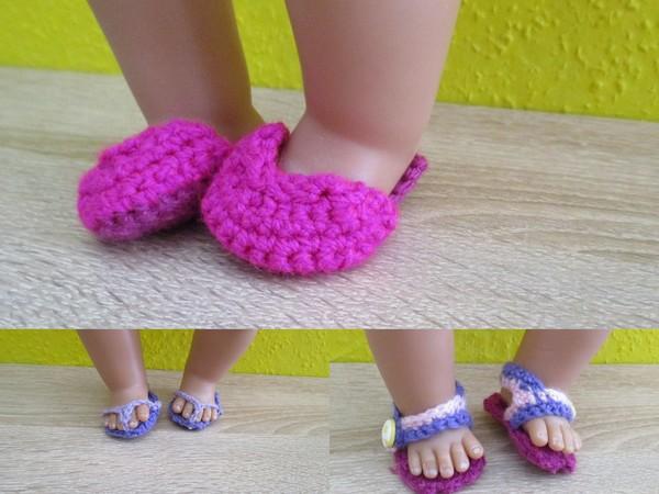 Häkelanleitung Schuhe für den Sommer für Babypuppen
