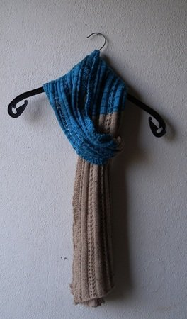 "Knitting Pattern for ribbed scarf with eyelets ""Caravansary"""