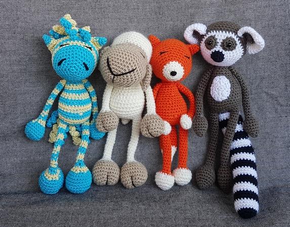 Set 4x Schlenkertiere Sari Schaf Fuchs Zebra Niki Und Kasu Katta