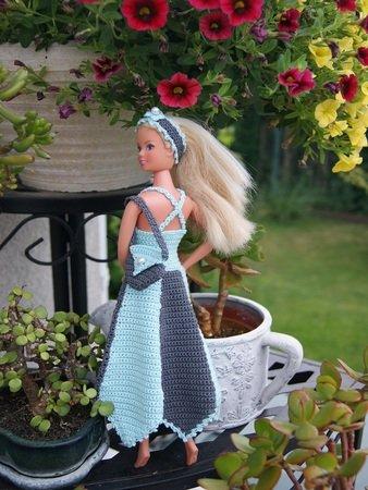 Häkelanleitung Barbie Set Kleid Haarband Tasche Türkisdunkelgrau