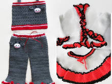 Girls Crochet Clothing Sets, Bolero Set, Monkey Pants Set