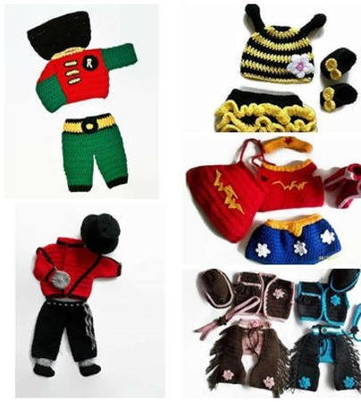 Baby Costume Patterns, Set of 5 Patterns