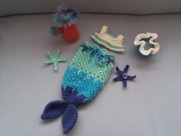 Häkelanleitung Puppenkleidung, Stella die kleine Meerjungfrau