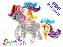 Unicorn crochet applique pattern