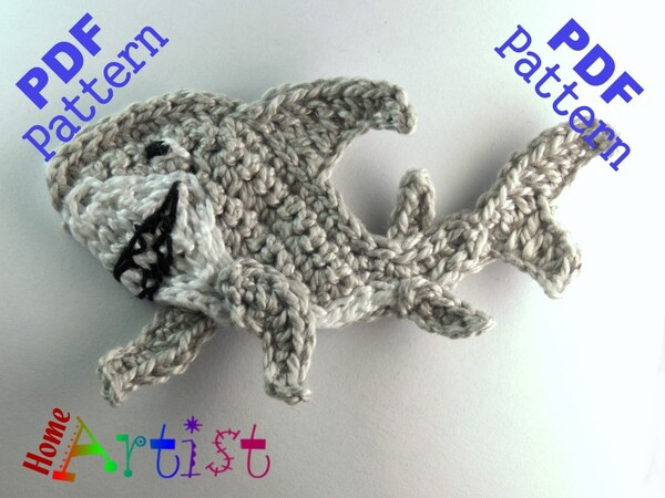 Shark + Plants crochet Applique Pattern