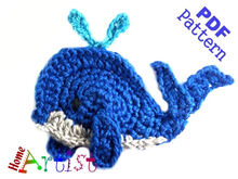 Whale + Shell crochet Applique Pattern