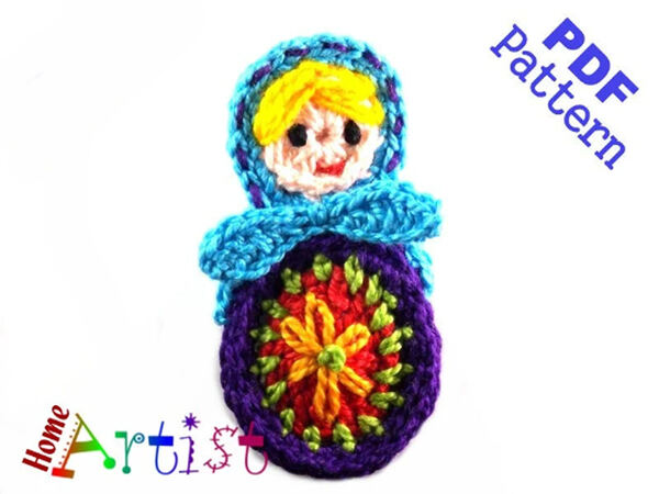 Matryoshka crochet Applique Pattern