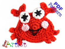 Crab + Shell crochet Applique Pattern