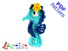 Seahorse + Plants crochet Applique Pattern