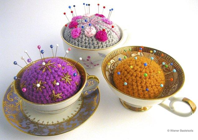 Nadelkissen Tasse Kaffeetasse Teetasse Upcycling Recycling