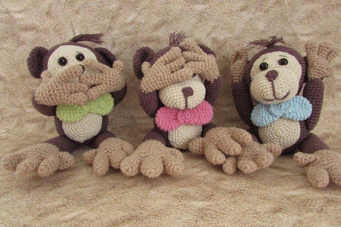 Affen Häkeln 3 Affen Im Sparset Häkeln