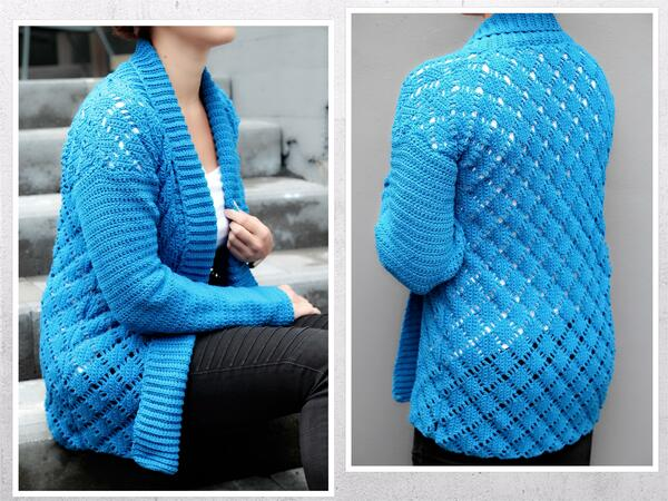 "crochet pattern cardigan ""royal diamond"", size S-XXL"